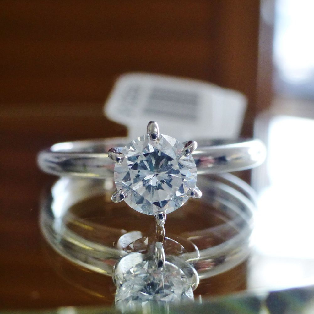 closeup picture of a round cut diamond solitaire engagement ring in white gold