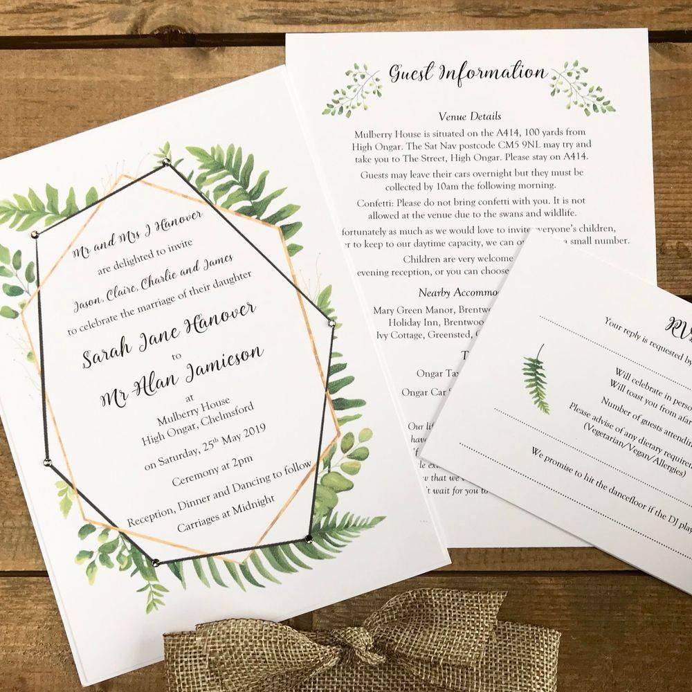 Deco Style wedding invitation with ferns