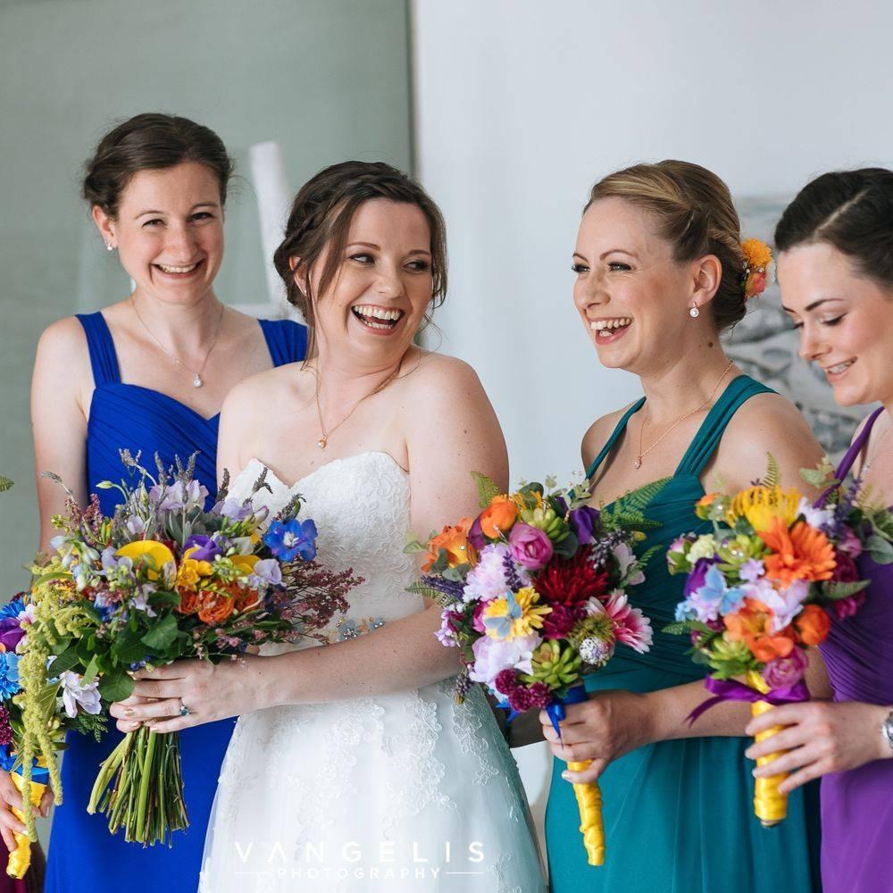 Bridesmaids, colours, teal, purple, royal blue