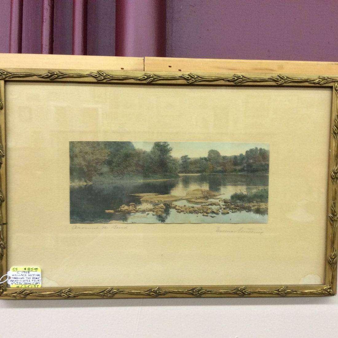 """C. 1908 Wallace Nutting  """"Around the Bend""""  Hand- Tinted Print  4"""" x 9-3/4""""  frame: 11"""" x 16-1/2""""   $85.00"""