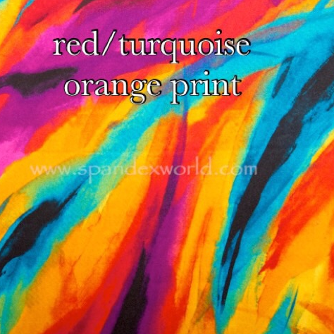 Orange turquoise multicolor print