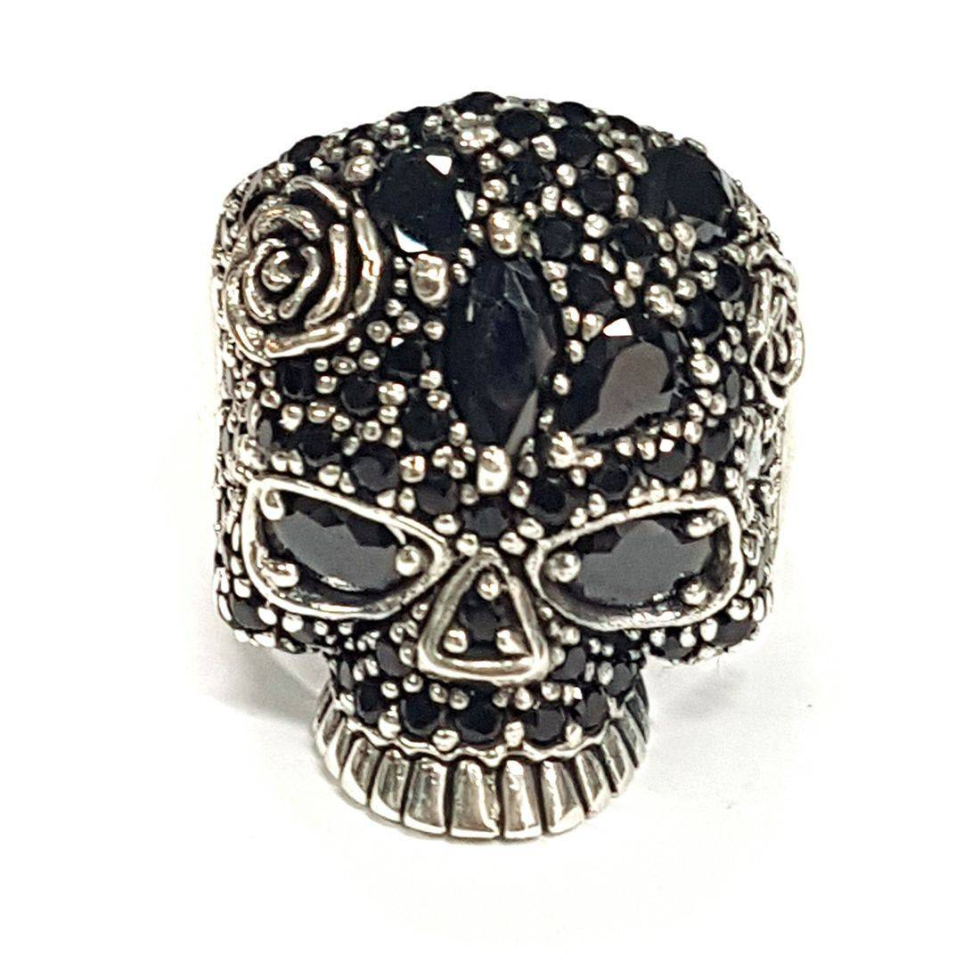 Black Crystal Rose Skull Ring  available at Kazbah online and our Leicester City Centre shop