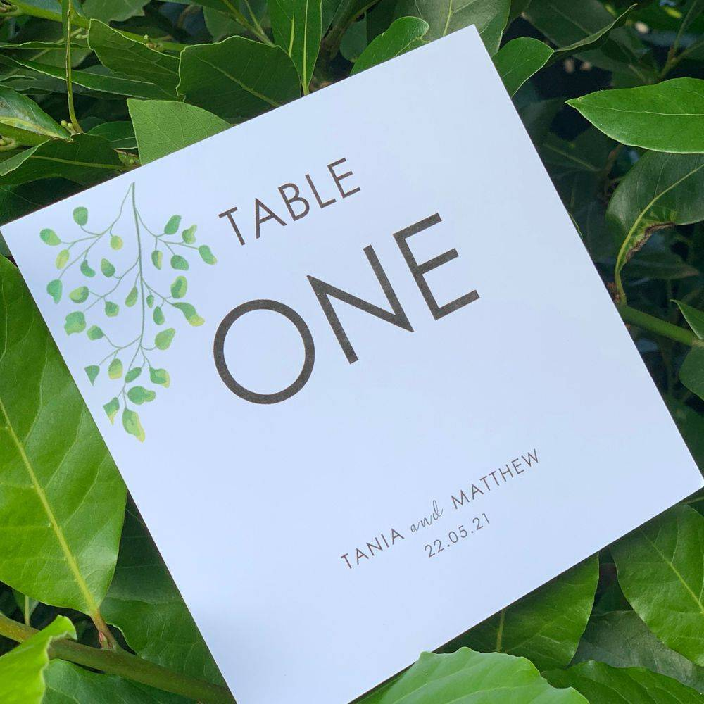 Botanical theme Table Number card in White with green leaves design