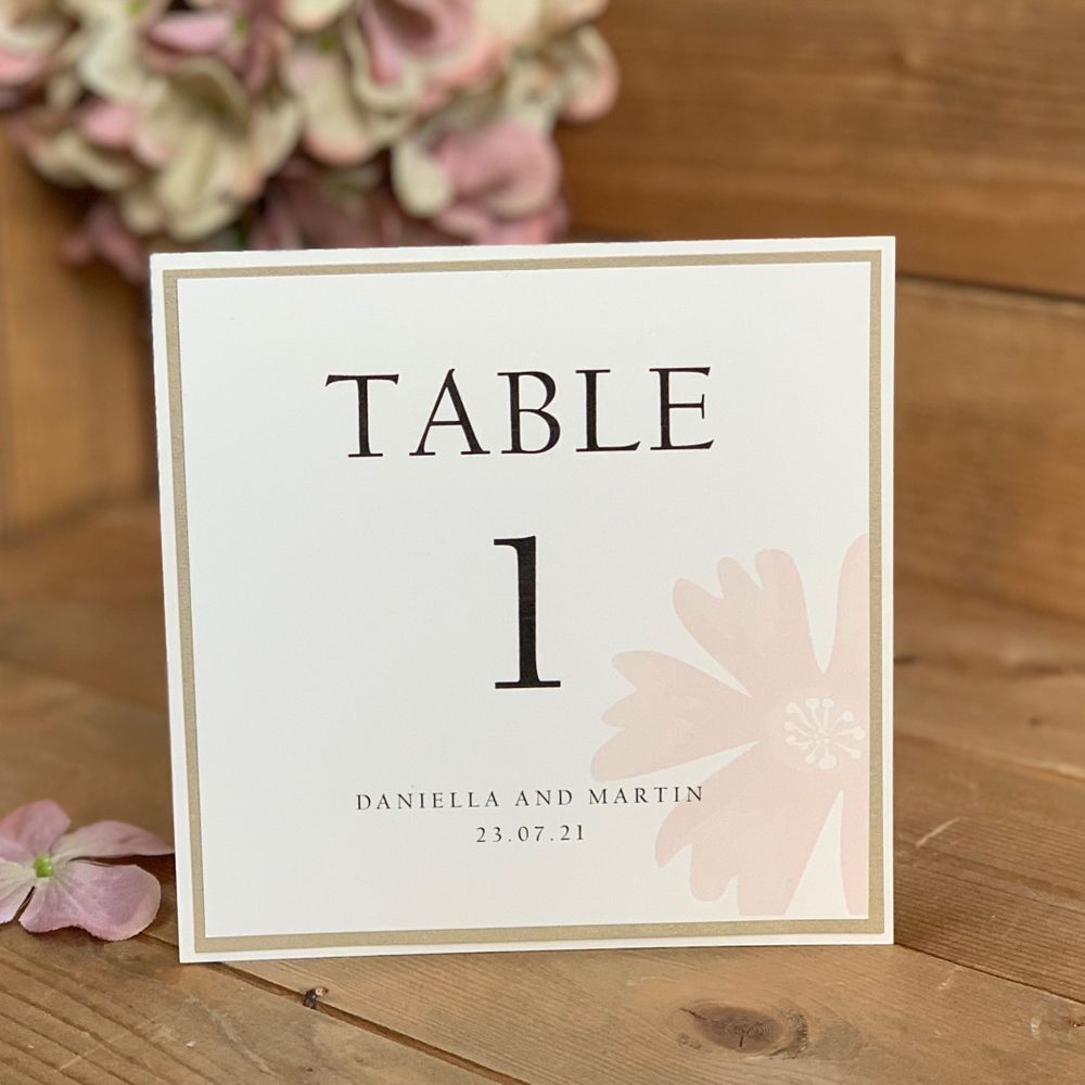 Ivory, pink and gold wedding table number card