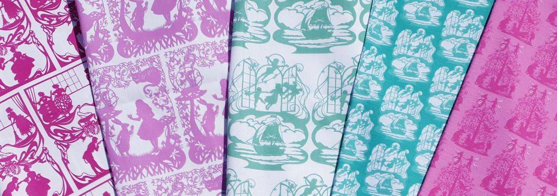 bramble crafts, fairy tale fabric, alice in wonderland fabric, cinderella, peter pan, curtain fabric