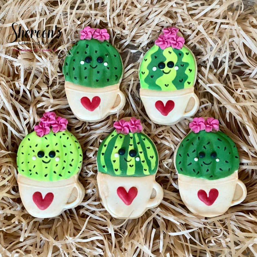 Cactus Cacti Succulent Cookies in a cup