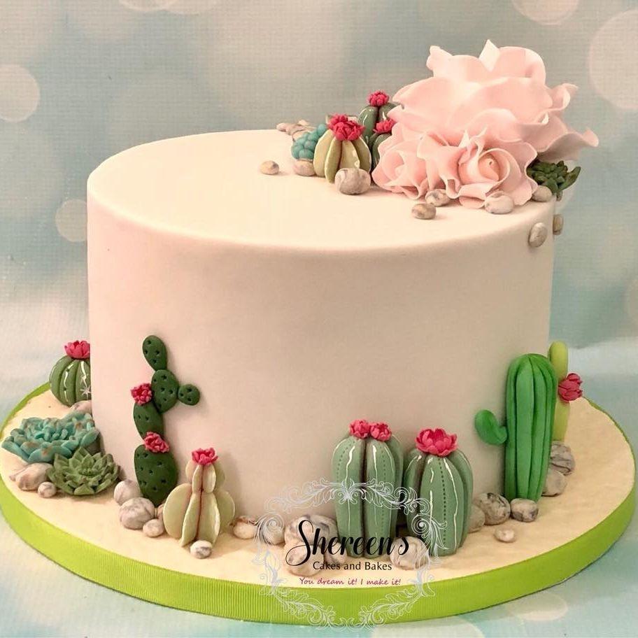 Cacti Cactus Cake Cupcake Succulent Sugar Fondant Hand Made Pink Flowers Stones