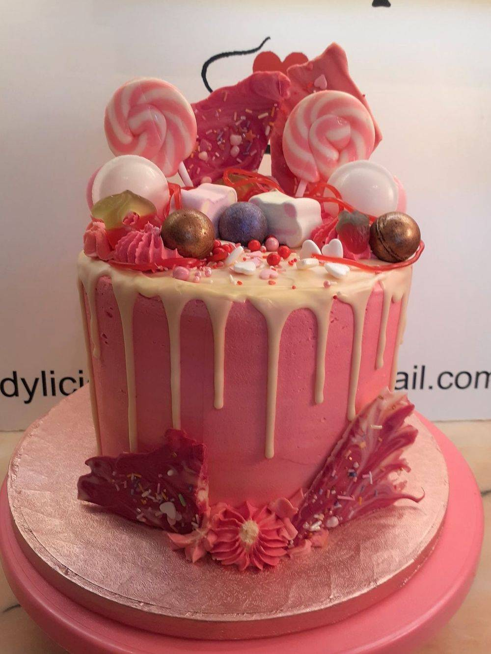 Very Pink Drip Cake
