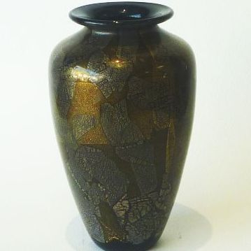 Isle of Wight studio glass baluster vase in black azurene, stands 20cm high