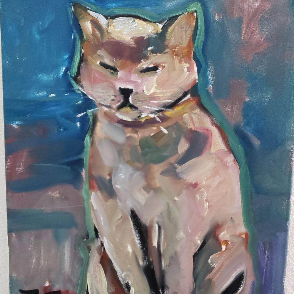 cat portrait original oil painting