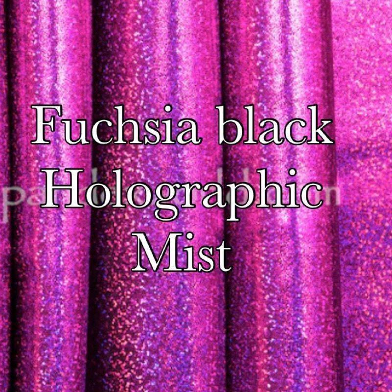 Fuchsia/black holographic mist