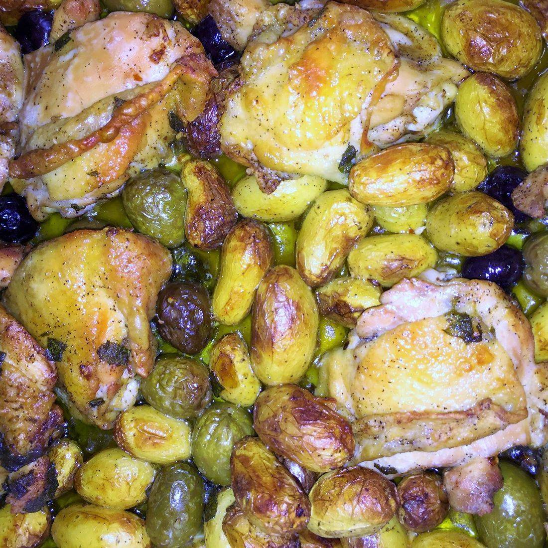 roasted chicken with potato olives and sage
