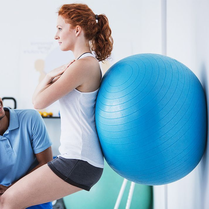 Physiotherapy using large ball