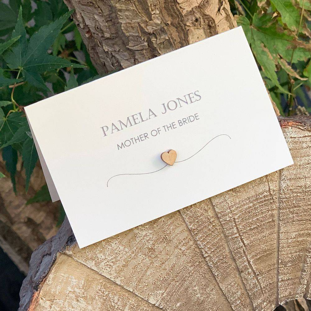 Rustic Wedding Place Name with wooden heart