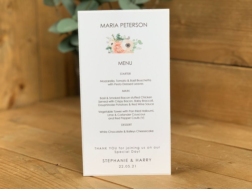 Menu card with guest name