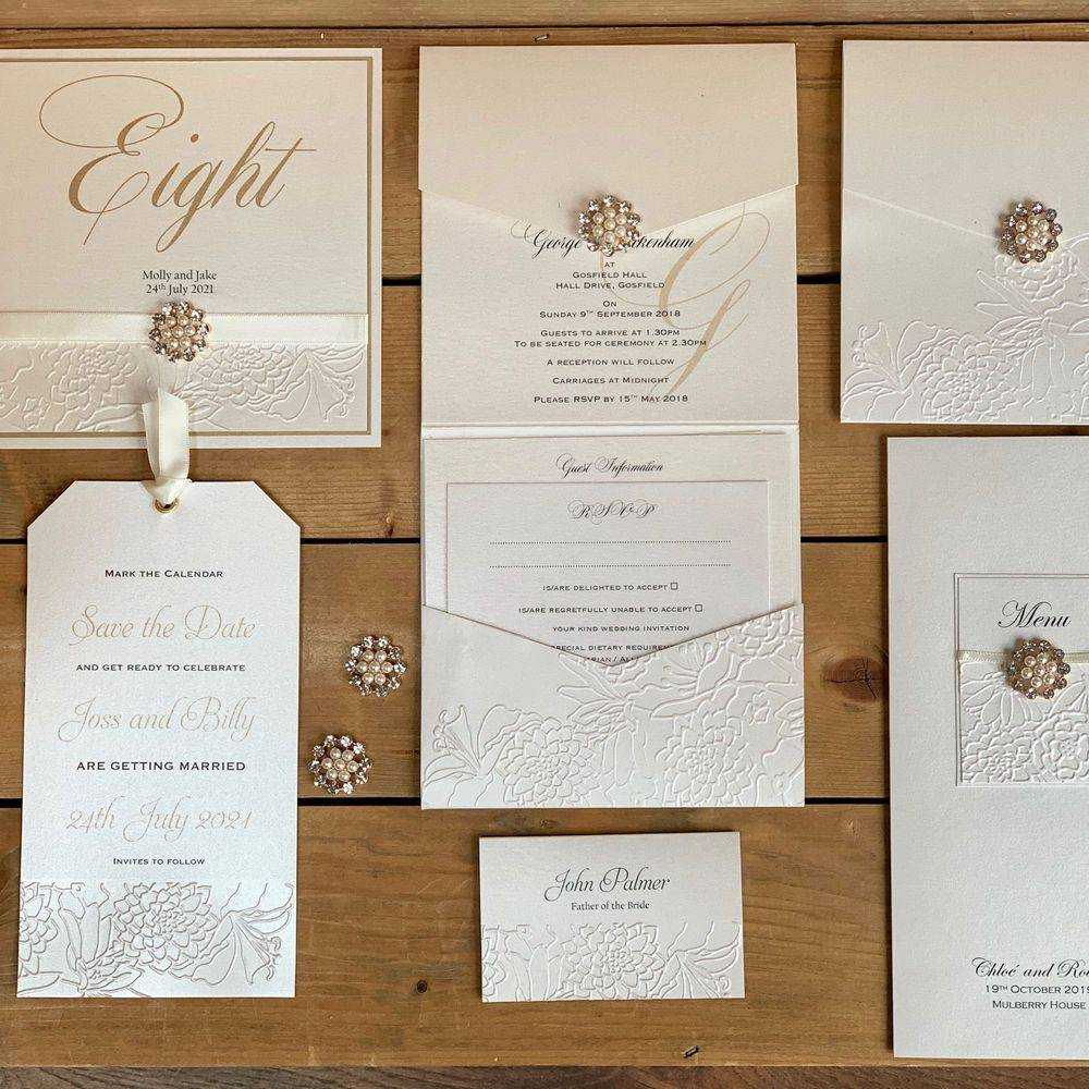 Luxury Embossed Wedding Invitations with pearls and crystals