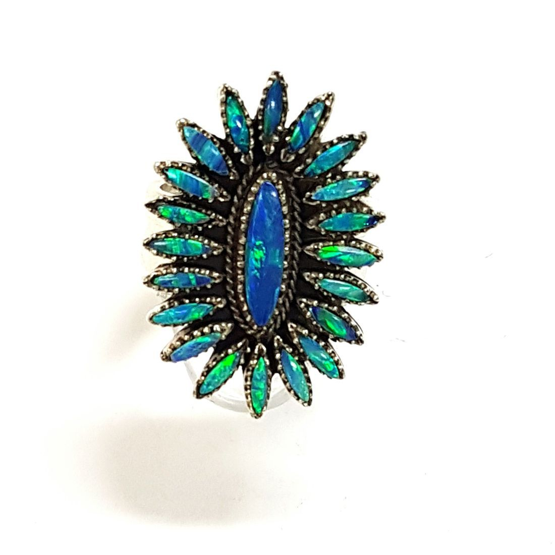 Blue Opal Small Flower Ring  available at Kazbah online and our Leicester City Centre shop