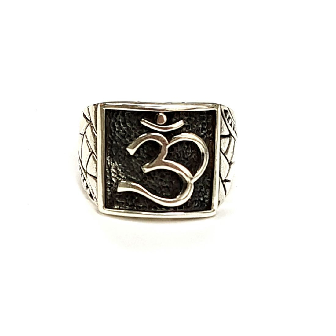 Black & Silver Om  Ring available at Kazbah online and our Leicester City Centre Shop