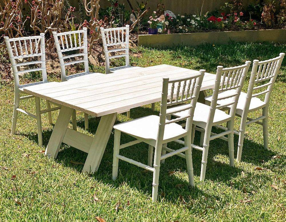 White Wooden Picnic Table with Kids Tiffany Chairs for Hire