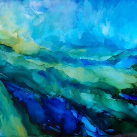 Alcohol Ink Abstract Seascape, by Barbara Polc