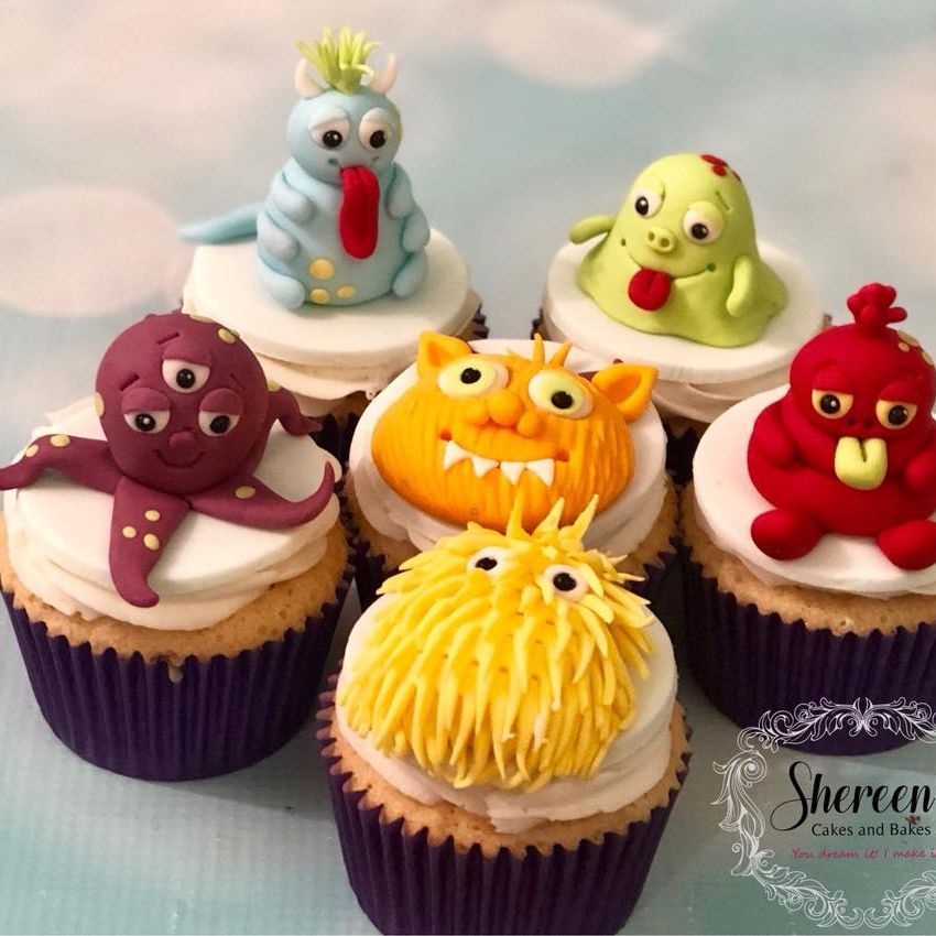 Monster Birthday Cupcake Cute Fun Colourful