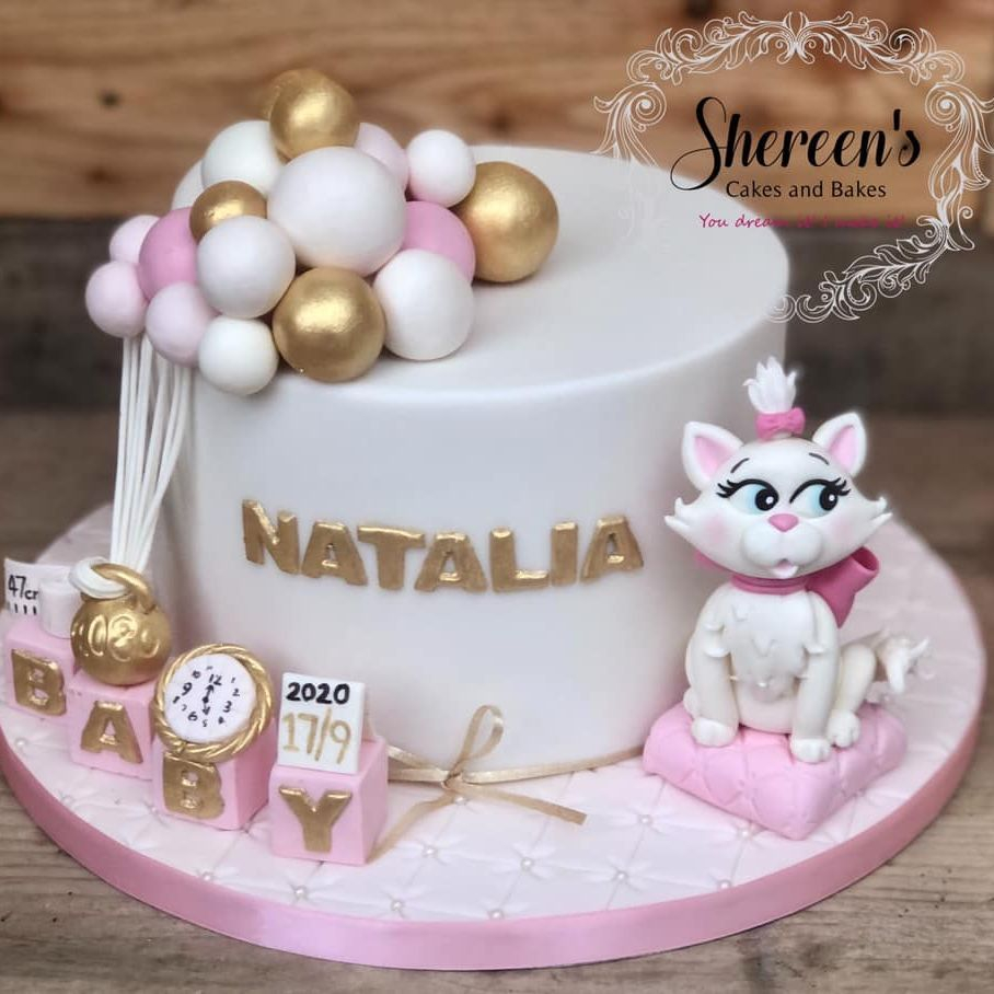 Gold white pink christening baptism cake weight balloons aristocats gold date