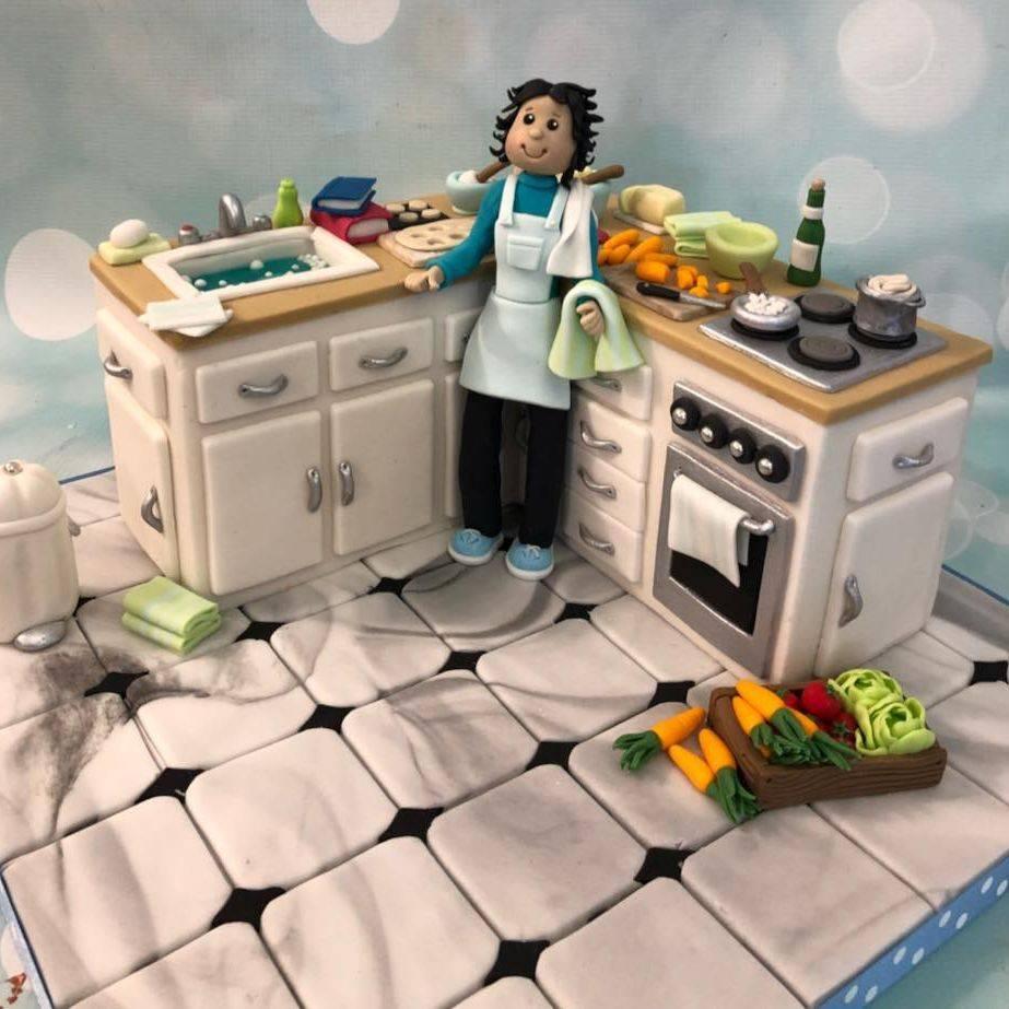 Kitchen Cake Novelty Birthday Tiles Sink Stove Vegetables
