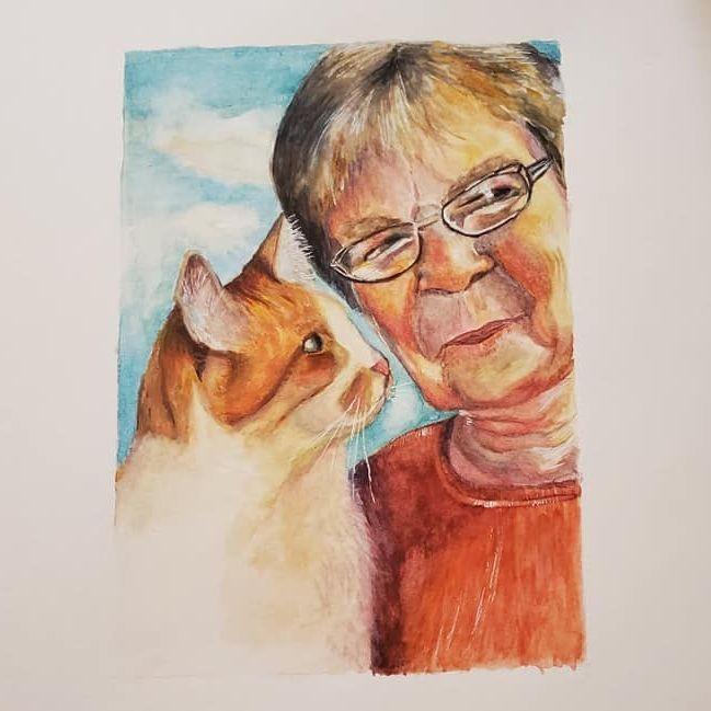 portrsit, pet portrait, memorial, watercolor