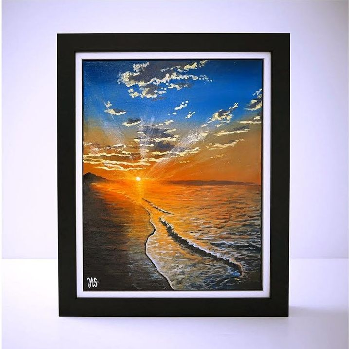 Sunset original framed painting for sale by British artist Murray Stewart