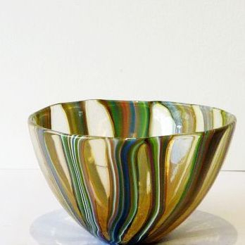 30 years, Isle of Wight studio glass bowl, 8cm h x 11.5cm across