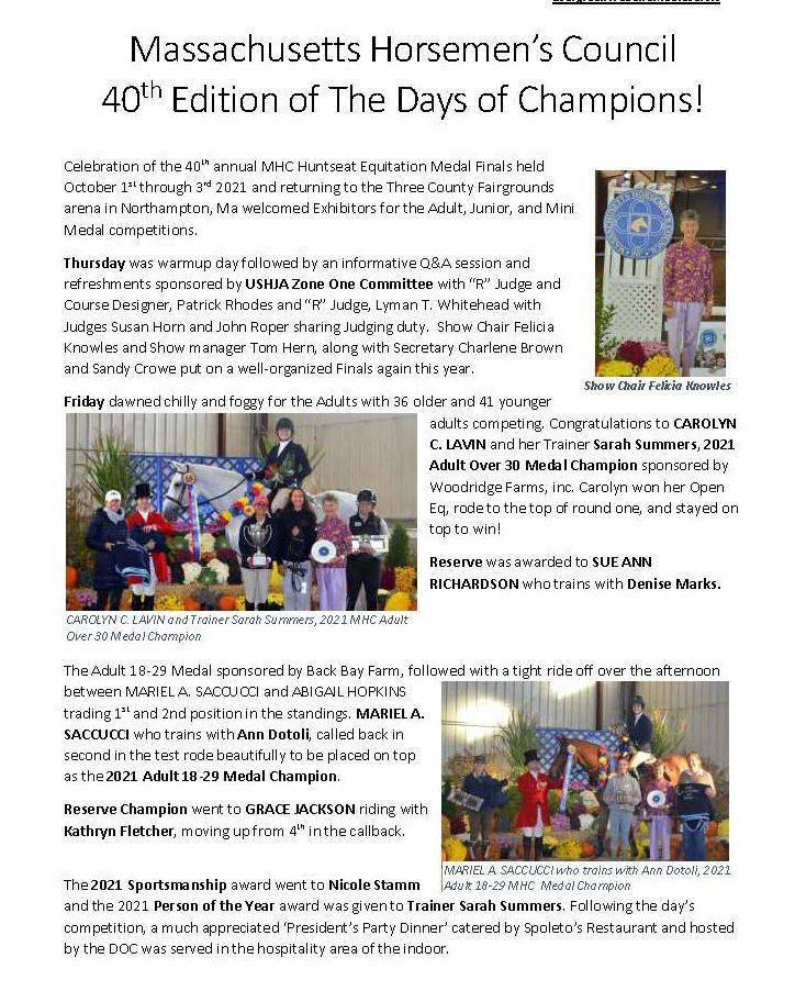 Write up for the 2021 MHC Days of Champions by Melody Taylor-Scott Ohlwiler