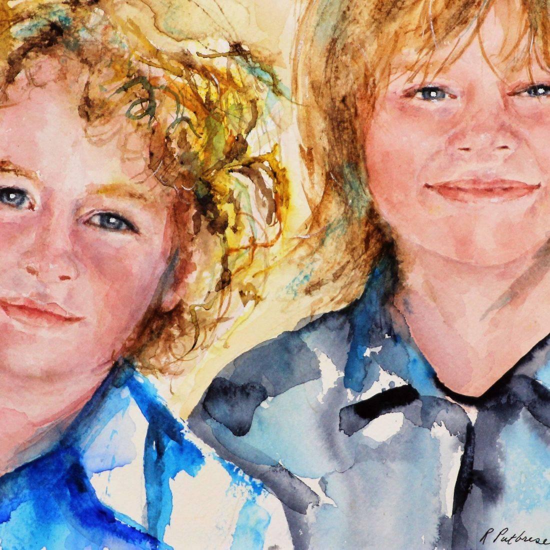 Rebecca Krutsinger/ Rputbrese watercolor portrait of Elton Johns sons Elijah and Zackrey by Rebecca Krutsinger