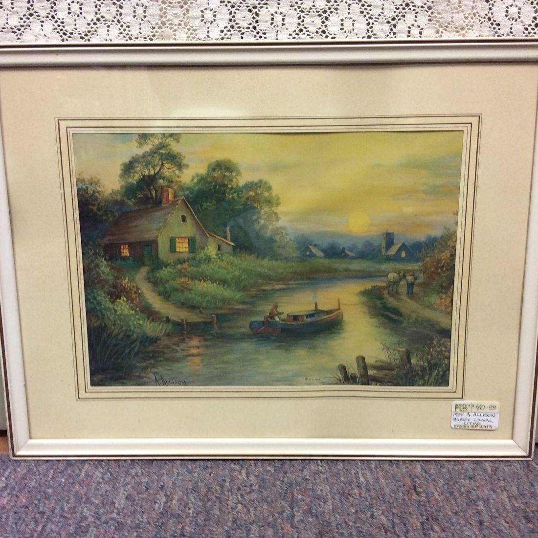 "1934 A. Allison, Barge Canal Litho 13"" X 17""   $40.00"