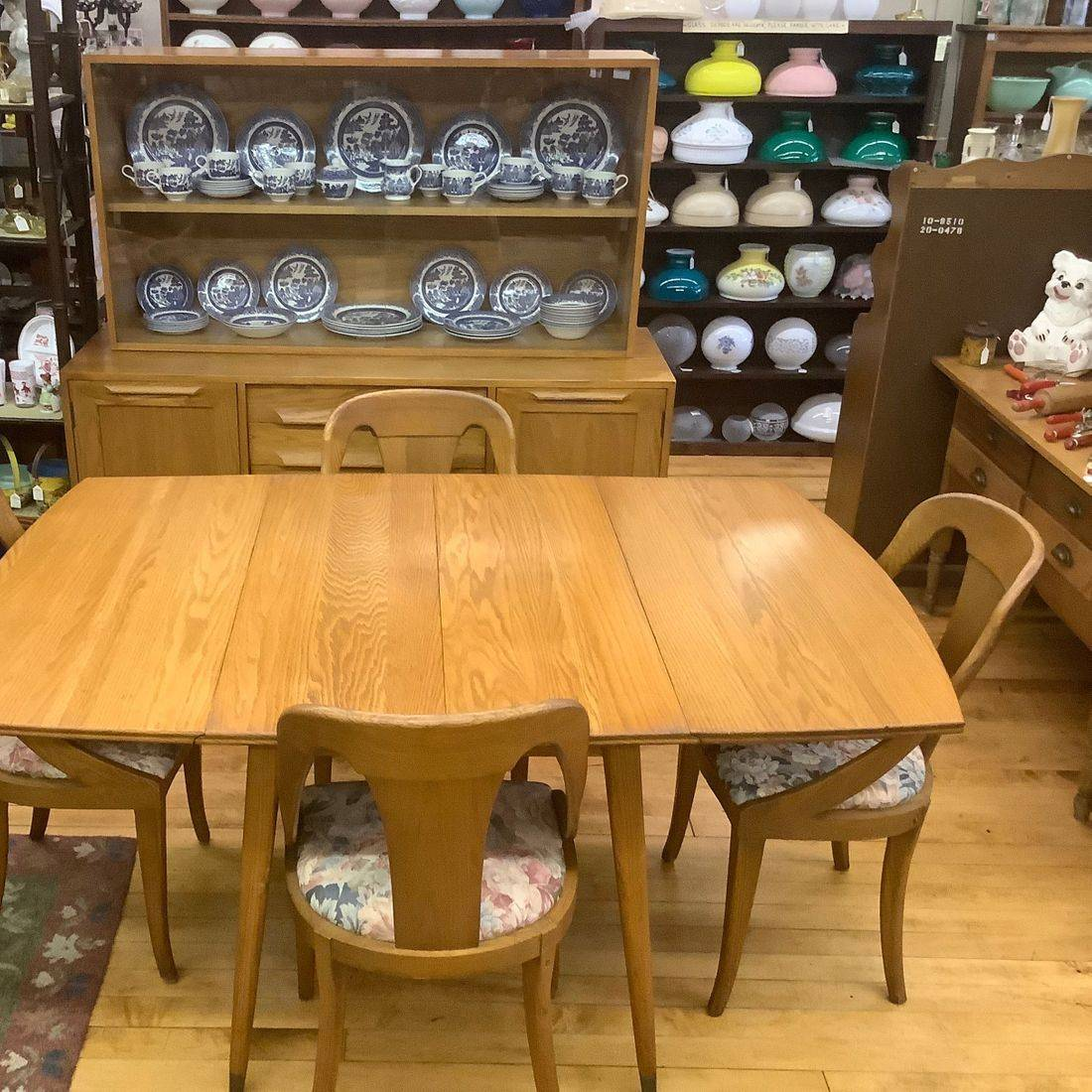 """1955 Jamestown Lounge Modern Oak Break front and Dining Table w/4 Chairs, 3-10"""" Leafs and Pads   $750.00"""