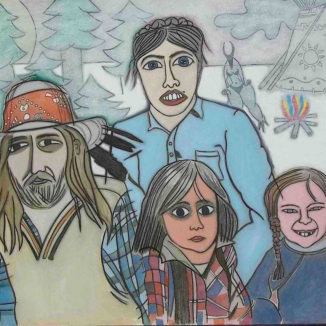 Family, Portrait, Outdoors, Teepee, Michael Andryc, Contemporary Art, Pop Art, Pop Culture