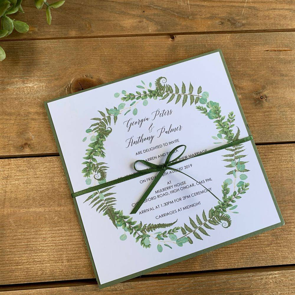 Wedding Invitation with Ferns and Eucalyptus