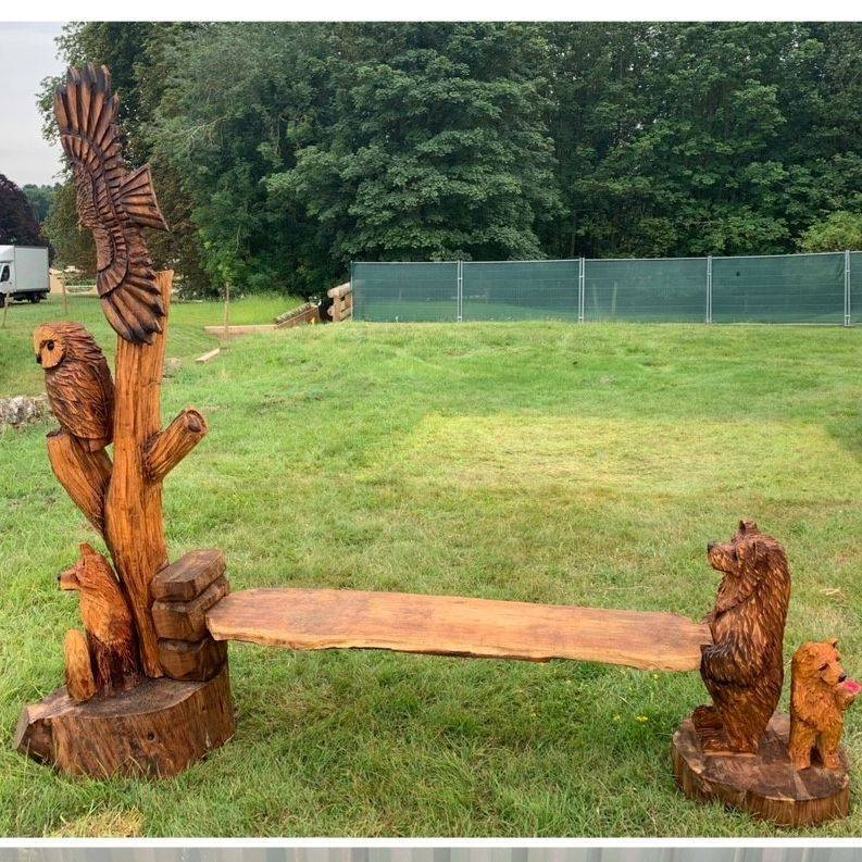 Wildlife bench Chainsaw Carving, Mike Burgess, Cheshire UK