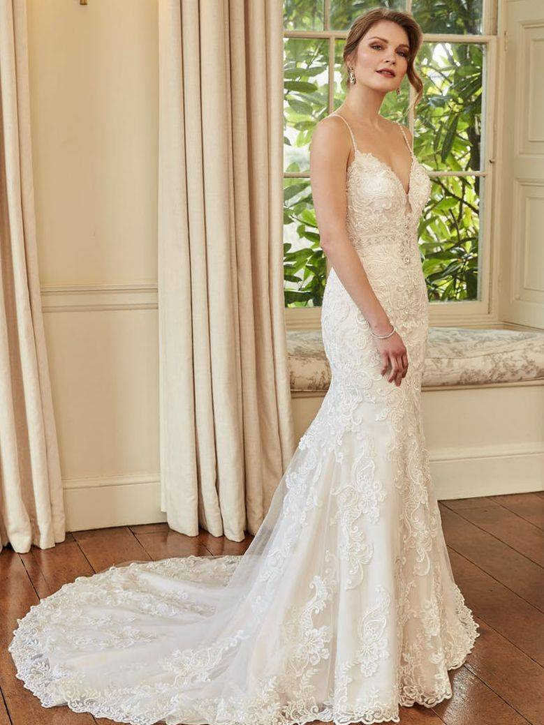 fitted lace wedding dress with straps