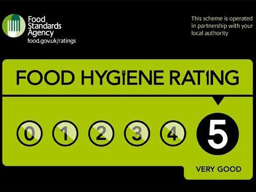 Five out of five food hygiene rating certificate from the food standards agency for the fish and chip catering van.