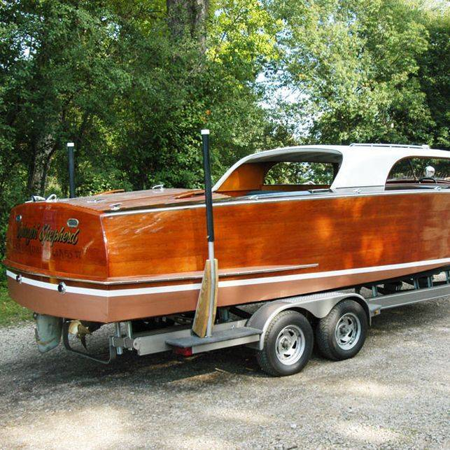 24 Shepherd Hardtop wood boat for sale