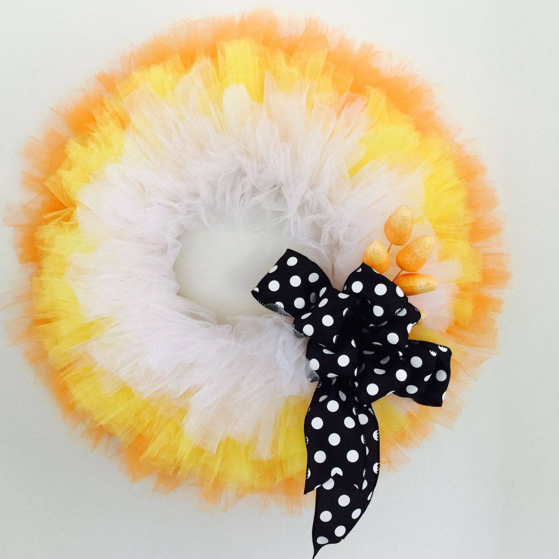 Candy Corn Tulle Wreath
