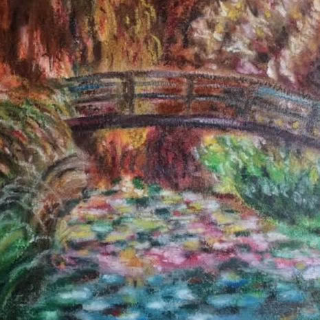 Monet's Lily Pond and Bridge,  by Barbara Polc, oil pastel painting, Giverny, Monet, lily pond, oil pastel abstract painting of monets bridge