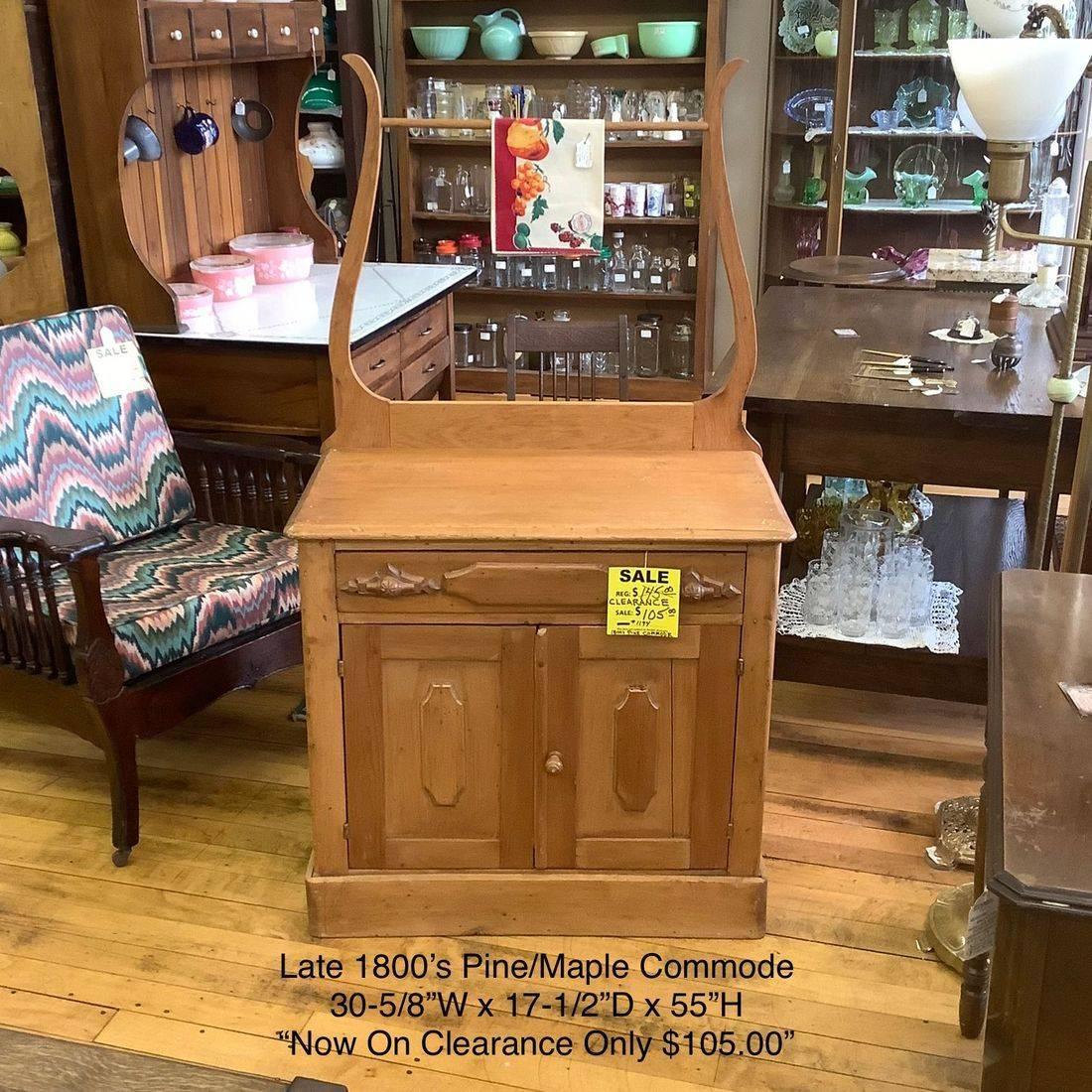 1800's Pine Commode w/Towel Bar