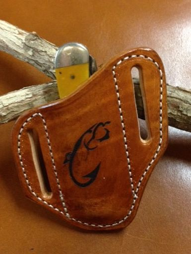 trapper sheath , laser engraved , custom knife sheath , case knife sheath , trapper sheath , pancake style , hand tooled , leather sheath , belt sheath