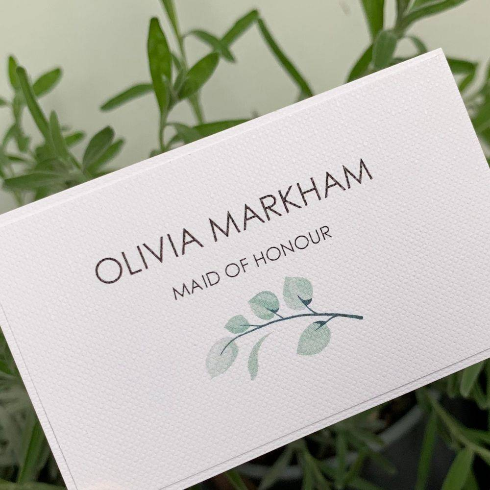 Wedding Place name card white with green leaves