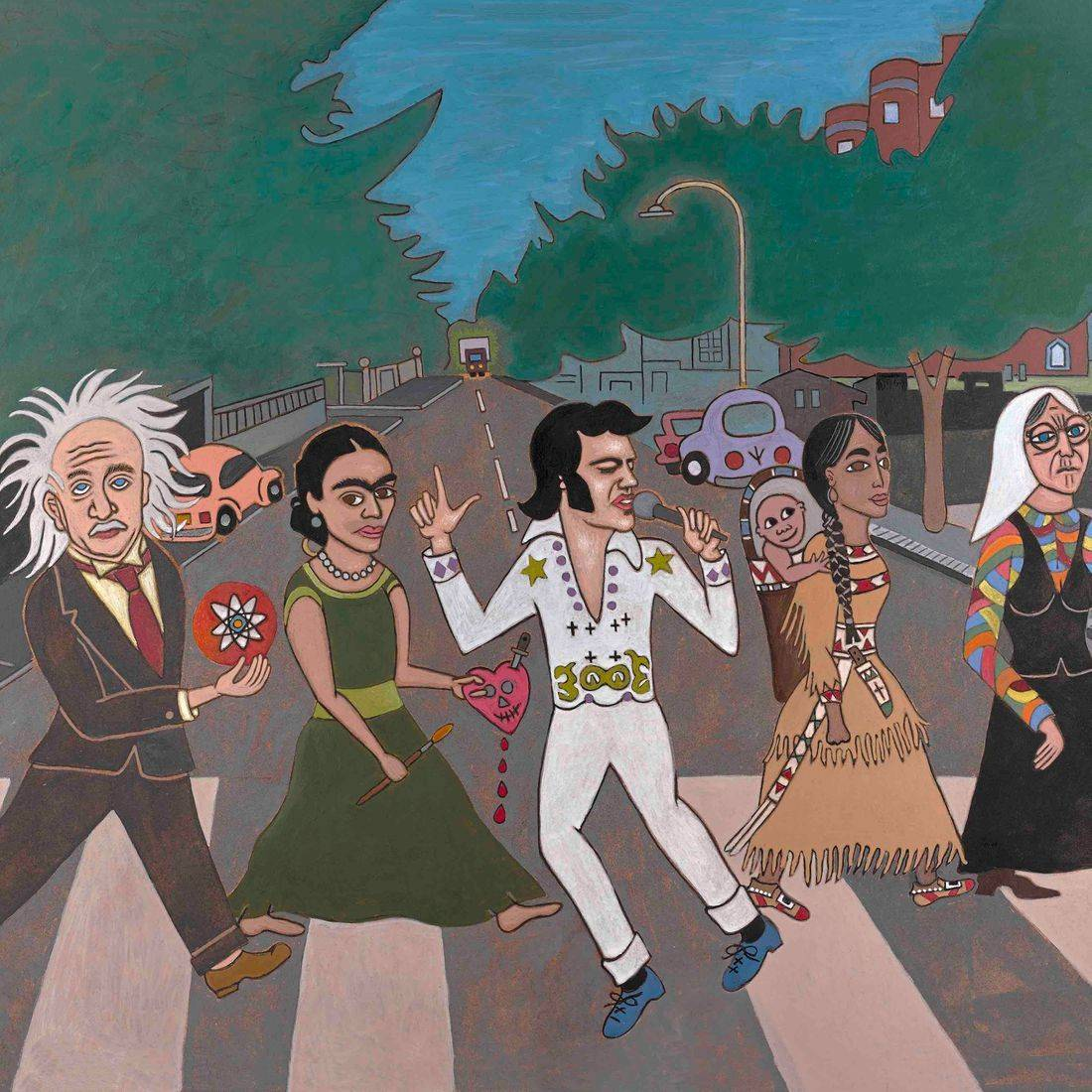 The Beatles, Albert Einstein, Frida Kahlo, Elvis Presley, Sacajawea, Papoose, Grandmother, Mother Teresa, Abbey Road, Think Tank, A Little Help from the Beatles