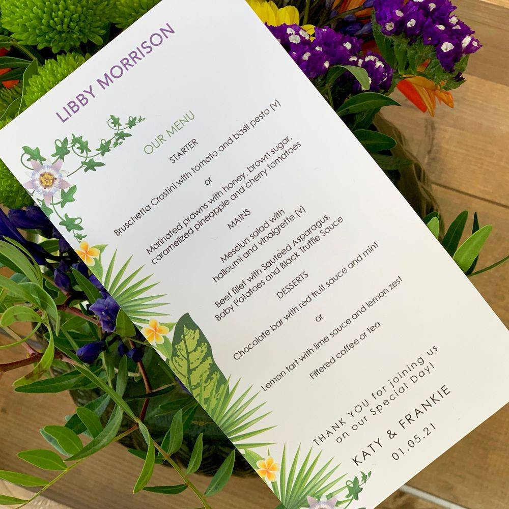 Menu and place name card for weddings abroad - tropical print