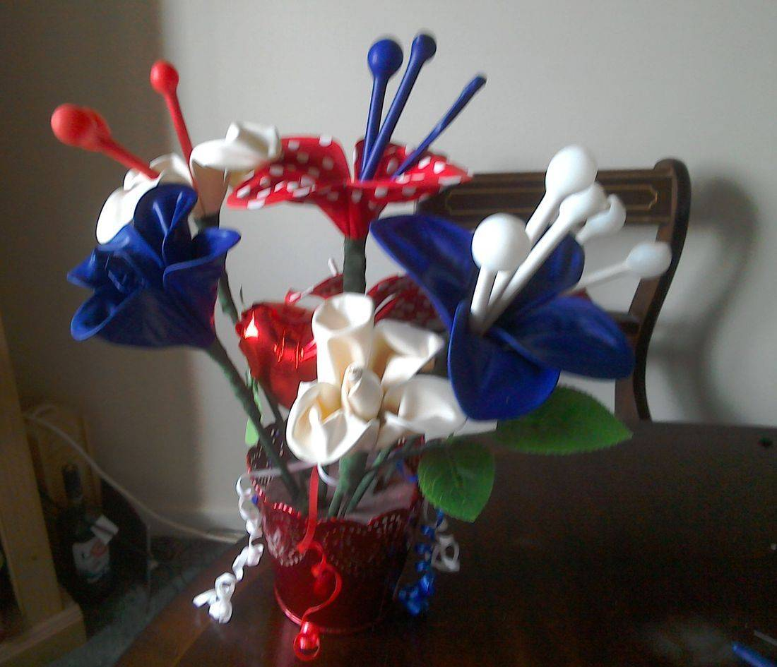 Red white and blue fantasy flowers for the Royal Wedding