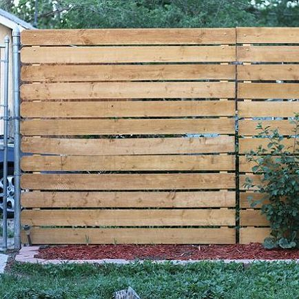 Pine Horizontal Plank Fence / Wood on Metal Frame