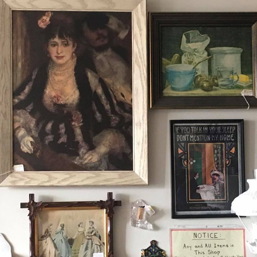 Vintage Renoir Print 'Box at the Opera'  $45.00,  Still Life Litho on Canvas by Siri   $18.00,  'Talk in Sleep' Framed Sheet Music  $20.00,  'Les Modes' Print Petersons Magazine Aug. 1866  $55.00
